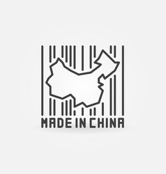 China map in barcode concept icon vector