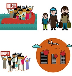 Refugees infographic elements vector