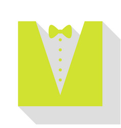 tuxedo with bow silhouette pear icon with flat vector image vector image