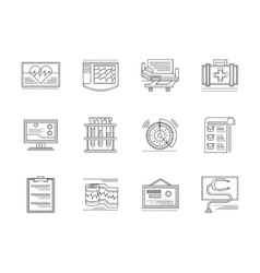 Cardiology elements linear icons set vector image vector image