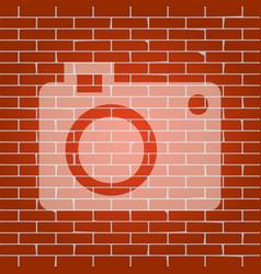 digital camera sign whitish icon on brick vector image