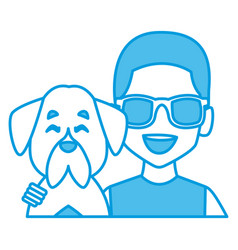man with dog cartoon vector image
