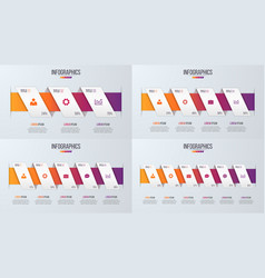 set of paper style infographic timeline designs vector image vector image