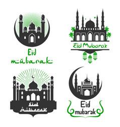 eid mubarak muslim festival greetings set vector image vector image