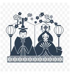 icon hinamatsuri japan black white vector image