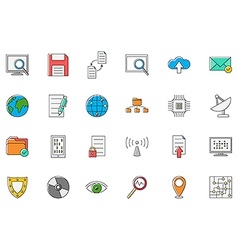 IT technology colorful icons set vector image