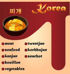 Meat korean soup jjigae vector