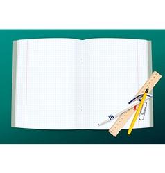 Open copy book with school supplies vector image vector image
