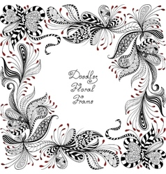 red black and white floral pattern vector image