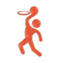 drawing colored silhouette man player basketball vector image