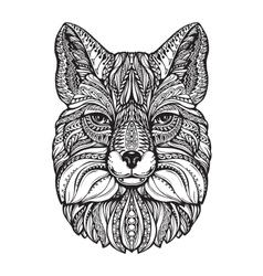 Fox head Hand drawn sketch animal Ethnic vector image