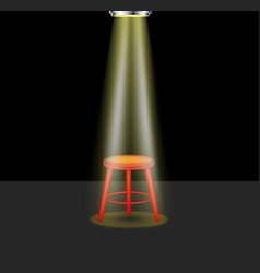 light shines on empty stool on stage vector image