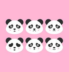 panda faces set vector image