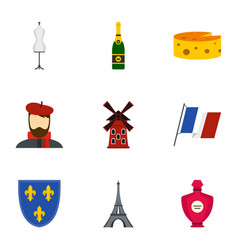 paris icons set flat style vector image vector image