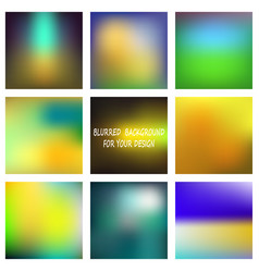 set of abstract colorful blurred backgrounds vector image