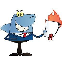 Shark Salesman Holding A Bad Contract vector image vector image