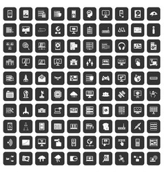 100 database and cloud icons set black vector image