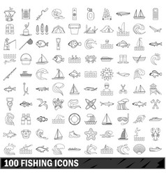 100 fishing icons set outline style vector image