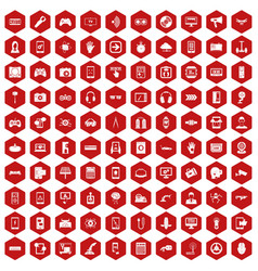 100 gadget icons hexagon red vector