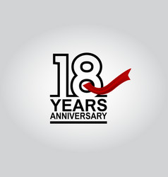 18 years anniversary logotype with black outline vector