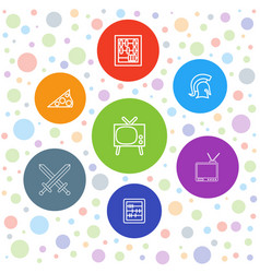 7 antique icons vector