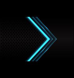 Abstract blue neon arrow black metallic mesh vector