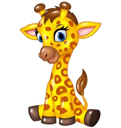 Adorable baby giraffe sitting isolated vector