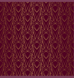 Art deco pattern from hearts seamless gold vector