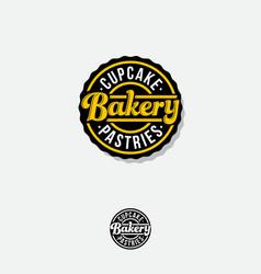 bakery logo lettering circle badge vintage signboa vector image