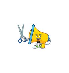 Barber yellow loudspeaker cartoon character for vector