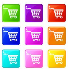 Basket on wheels icons 9 set vector