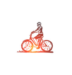 bike cyclist sport race man concept hand vector image
