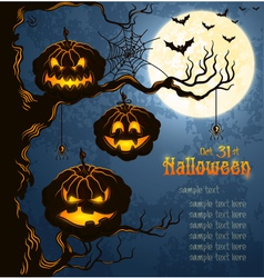 blue grungy halloween background with pumpkins vector image