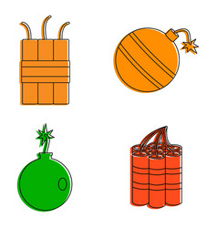 bomb icon set color outline style vector image