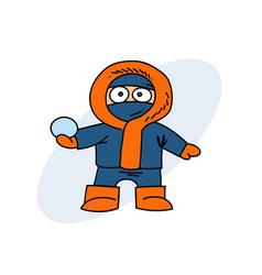 boy in winter clothes vector image