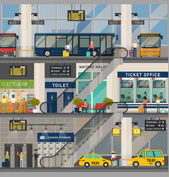 bus or transport station or stop interior view vector image