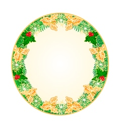 Button circular Christmas spruce and holly vector