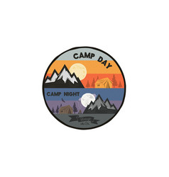 camp day and camp night outdoor adventure concept vector image