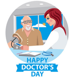 Card for happy doctors day vector