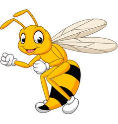 cartoon bee hornet isolated on white background vector image