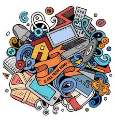 Cartoon doodles work from home vector