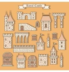 Cartoon stone castle isolated parts vector