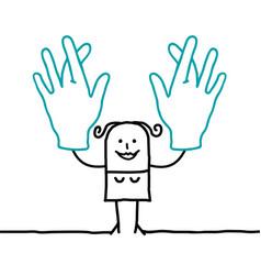 Cartoon woman crossing her fingers vector