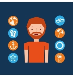 character beard man summer vacation collection vector image