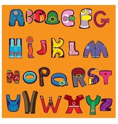 Cheerful alphabet in the form of different vector