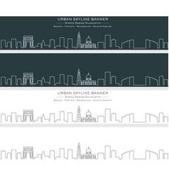 chisinau single line skyline banner vector image