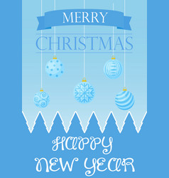 christmas card with greetings and blue vector image