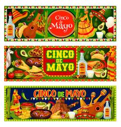 cinco de mayo fiesta sombrero guitar and tequila vector image