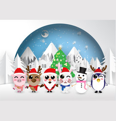 circle frame santa claus hold ones hands animal vector image