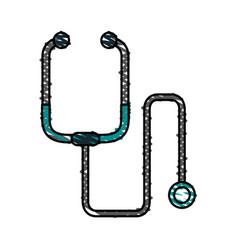 color crayon stripe cartoon stethoscope medical vector image
